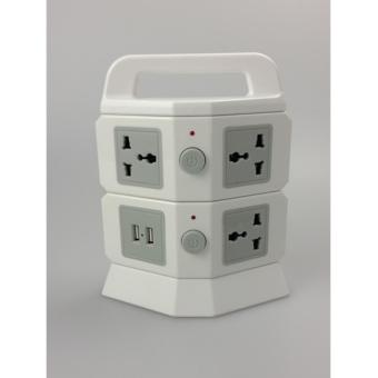 Harga 2 Tiers Flat Vertical type power socket/Power tower/Extension USB outlet