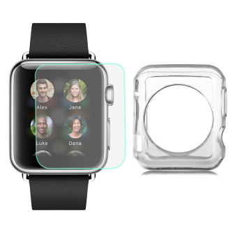 Harga Mini Smile TPU Case + Tempered Glass Screen Protector Set for 42mm APPLE WATCH - Transparent