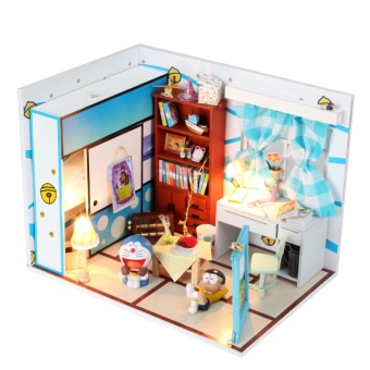 Harga DIY hut machine cat dream Doraemon Duo a dream Nobita house cartoon assembled model Nobita's room