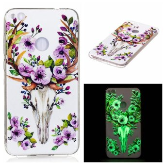 Harga For Huawei P8 Lite 2017 Cases TPU Cover Flower Sika Deer Luminous in Dark - intl