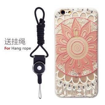 Harga Phone case for Apple iPhone 6/6s ShockProof Fashion New design Female/Male Flower Embossed Silicone Soft TPU back cover case with lanyard - intl
