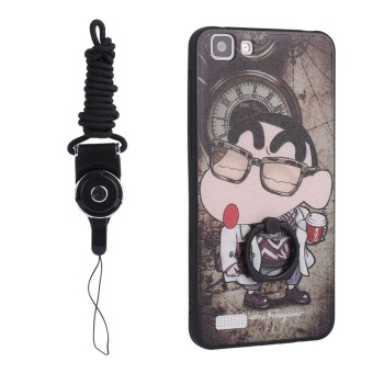 Harga For VIVO Y35 3D Painting Ring holder Cover Case(Crayon)+ One Free Phone Lanyard - intl