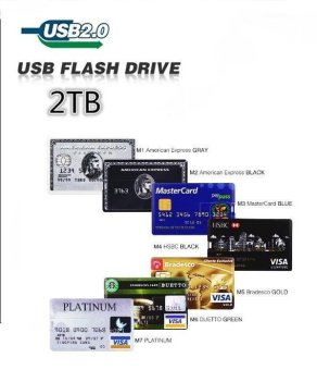 Harga HOT SELL 2T Waterproof Credit Card USB Storage Disk 2TB Bank Card U Disk_B - intl