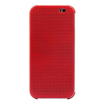 Harga Vanker New Stylish Matrix Dot View Flip Silicone Smart Shell Case Cover For HTC One E8 (Red)