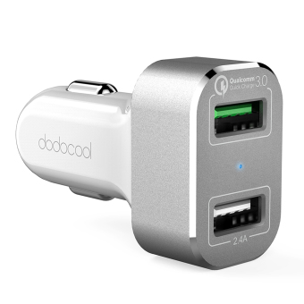 Harga dodocool 30W 2-Port USB Car Charger with Quick Charge 3.0 for LG G5 / HTC One A9 / Xiaomi Mi 5 / LeTV Le MAX Pro and More USB-powered Devices White Silver - intl(Neutral).