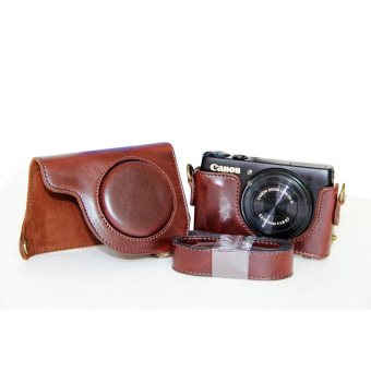 Harga PU Leather Camera Case Bag Cover with Shoulder Strap for Canon S110/S120-A Coffee (Camera Not Included)