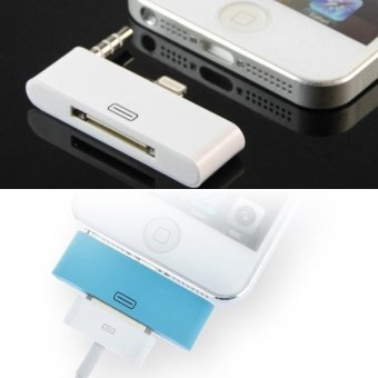 Harga 8 pin Lightning to 30 Pin Female Adapter with 3.5mm Audio Plug for iPhone 5 / 5S / 5C / iTouch 5 (White)