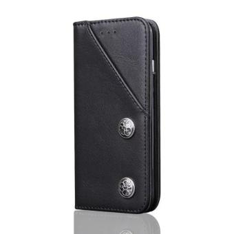 Harga Vintage Leather Wallet Phone Cover Business Flip Case Card Holder Phone Cover Full Cover Case For iPhone 7 Plus - intl