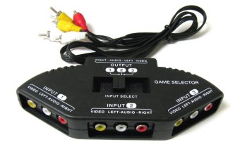 Harga 3-Way Audio Video AV RCA Black Switch Selector Box Splitter with/3 RCA Cable