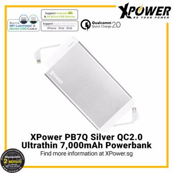 Harga XPower PB7Q Qualcomm Quick Charge 2.0 Powerbank (7000mAh) with dual Built-in MFI Lightning Cable and Micro USB Cable Silver