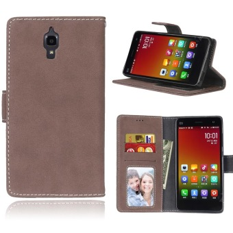 Harga Ueokeird Protective Stand Wallet Purse Credit Card ID Holders Magnetic Flip Folio TPU Soft Bumper Leather Case Cover for Xiaomi 4 / Xiaomi Mi 4 MI4 - intl
