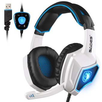 Harga 2016 New SADES Spirit Wolf 7.1 Surround Sound Stereo USB Gaming Headset Headband Headphones with Mic Over-the-Ear Noise Isolating Volume Control LED Light For PC Gamers (White)