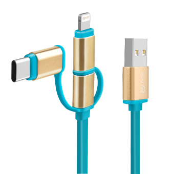 Harga LENUO 6.6ft Micro USB Cable,Lightning to USB Cable,Type C to USB Cable,3 in 1 USB Cable for USB-C,Micro USB and Apple Lightning (Blue)