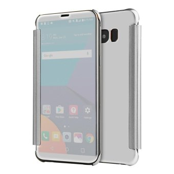Smart Wake/Sleep Mirror Leather Flip Cover Case For Samsung Galaxy S8 Plus (Silver) - intl