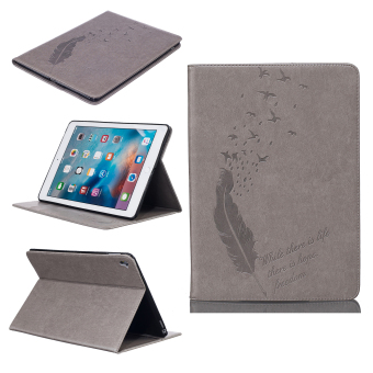 Harga Feather PU Leather Case Flip Wallet Stand Cover for Apple iPad Pro 9.7 inch (Grey) - Intl