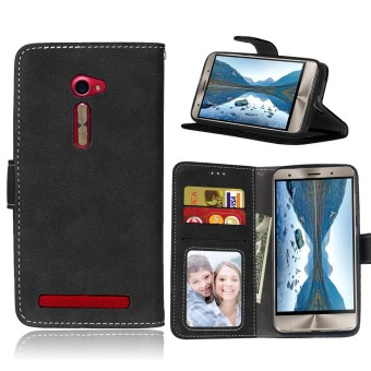 Harga Ueokeird Protective Stand Wallet Purse Credit Card ID Holders Magnetic Flip Folio TPU Soft Bumper Leather Case Cover for Asus ZenFone 2 ZE500CL 5.0inch - intl