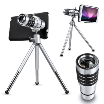 Universal 12X Zoom Camera Telephoto Telescope Lens + Mount Tripod Holder For Cell Phone (Silver) (Export)