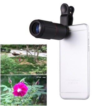 Universal 8X Zoom HD Optical Lens Telescope for Mobile Phone Camera Black - intl