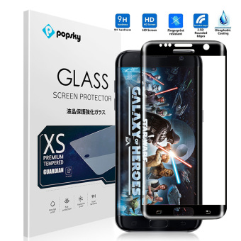 PopSky Clear Tempered Glass Premium 9H Film Screen Protector for Samsung Galaxy S7 Edge (Black)
