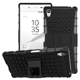 For Sony Z5 Premium Case E6833 E6883 Heavy Duty Armor Shockproof Hybrid Stand Hard Rugged Rubber Cover For Sony Xperia Z5 Plus (Black) - intl