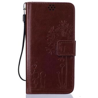 Premium Magnetic Closure PU Leather Emboss Dandelion Wallet case Pattern with Card Slots Wrist Strap Flip Stand Cover for Xiaomi Redmi Note 3 - intl