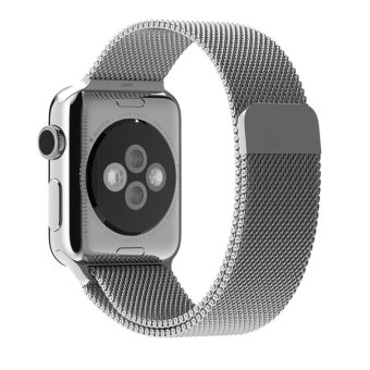 Harga JTS Milanese Stainless Steel Fully Magnetic Closure Clasp Bracelet Mesh Metal Loop Band Strap for Apple Watch All Models(42mm Silver)