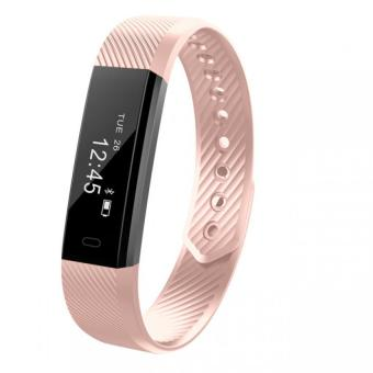 Harga Bluetooth 4.0 Smart Bracelet Fitness Tracker Step Counter Fitness Watch Band Alarm Clock Vibration Wristband Pk Fitbit Miband 2(Pink) - intl