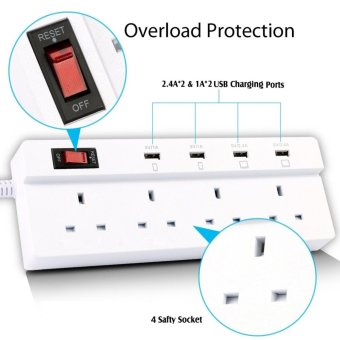 Harga Jabriel Lightning protection function Power Strip 4 Way Outlet 4 USB Ports Extension Lead Power Strip Surge Protector USB Charger Power Socket with 5.9ft Power Cord USB Charging Port Support iPad iPod Smart Phones - intl