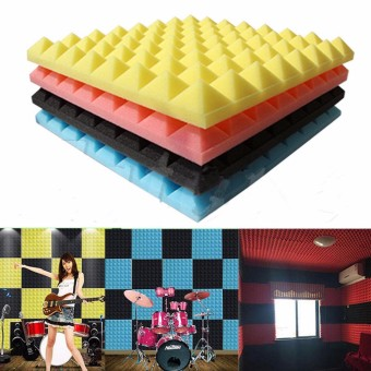 Harga 5pcs Acoustic Soundproof Sound Stop Absorption Pyramid Studio Foam Sponge Sky Blue