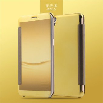 Smart Sleep Mirror Leather Case Cover For Oppo R9 Plus (Gold) - intl