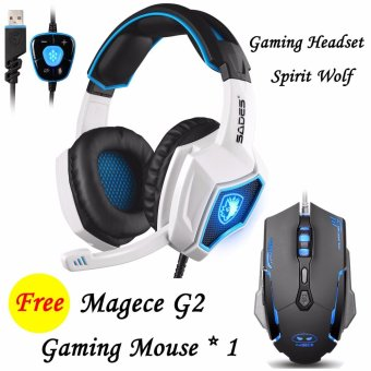 Harga SADES Spirit Wolf 7.1 USB Gaming Headset Headband Headphones with Mic For PC Gamers (White)+Gaming headset(Free) - intl