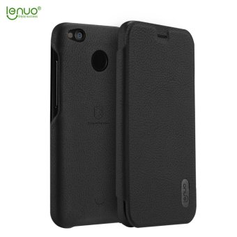 Harga Xiaomi Redmi 4X Case, Lenuo Lemeng Ultra Thin Crash Proof Slim Fit Flip Up Inside Card Slot PU Leather Cover Soft PC Protective Shell Integrated Back Case for Xiaomi Redmi 4X - Black - intl