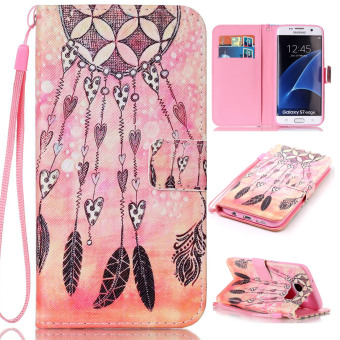 Harga Ueokeird Colorful Pattern Protective Stand Wallet Purse Credit Card ID Holders Magnetic Flip Folio TPU Soft Bumper PU Leather Ultra Slim Fit Case Cover for Samsung Galaxy S7 Edge - intl