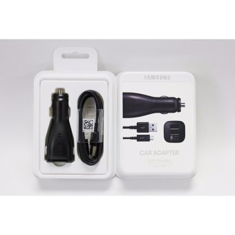 Harga Samsung Car Charger Dual Port Adaptive Rapid Fast Charger with USB Cable with RETAIL PACK