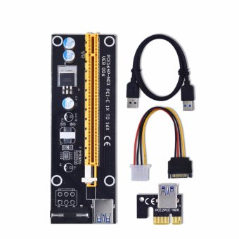 Harga 60cm PCI-E extender PCI Express Riser Card 1x to 16x USB 3.0 SATA to 4Pin IDE Molex Power for BTC Miner Machine - intl