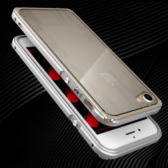 Harga Slim Frame phone Cases for apple iPhone 7 Plus Aluminum Cover Metal Protector side For iPhone 7 Plus Luxury Casing shockproof (Silver Gold) - intl
