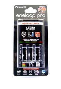 Harga Panasonic Eneloop Pro Quick Charger with Rechargeable AAx4 Kit 2550Mah