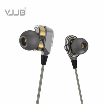 VJJB V1 Double Unit Drive In Ear Metal Earphones HIFI Bass Subwoofer Earphone Without Microphone