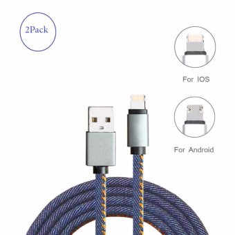 Harga Lighting to USB Charger Cable 8pin Charging Data Cable Denim Braided Fast charging Cord Powerline for iPhone 7 7s 6 6s Plus, 5s / Android -33ft - intl