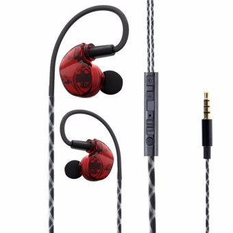 In-Ear Sports Headphones With Microphone For IOS and Android Phone (Red). - intl