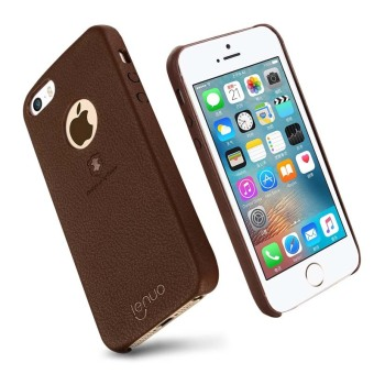 Harga Lenuo Elegant PU Leather PC Back Cover Protective Cases for Apple iPhone SE / 5s / 5 (Brown)