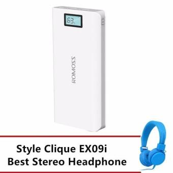 Harga Romoss Sense 6 Plus 20000mAh LCD Display Dual Port Power Bank (White) with Free Best stereo Headphone(Blue)