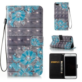 Harga Fashion 3D Protective Stand Wallet Purse Credit Card ID Holders Magnetic Flip Folio TPU Soft Bumper PU Leather Ultra Slim Fit Case Cover for Apple iPhone 7 Plus - intl