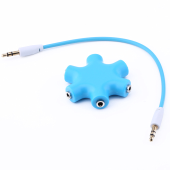 Harga 3.5mm Earphone Headphone Audio Splitter 1 Male to 5 Female Port Cables (Blue)