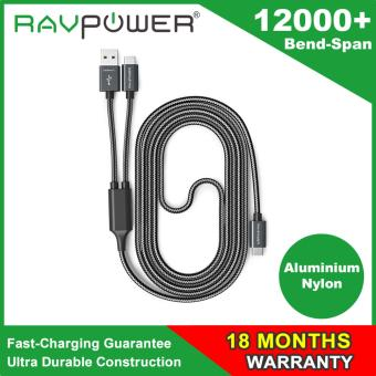 Harga RAVPower Fast Charging 2-in-1 USB Type C to USB A / Type C Cable (Maxium 3.0Amp , Aluminum Build & Nylon Braided Cord, USB 2.0 Standard 480Mb/s Data Transfer, Overvoltage Protection - 3.3 ft / 1 m)