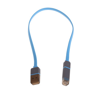 Harga 2-in-1 Data Sync Charge Cable USB to Lightning and Micro USB Adapter (Blue)