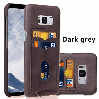 Harga SANHE Phone Anti-drop Protection Hard Plastic PC Cases Soft PU Leather Covers Skins Backside Cards Insert with Chain Strap Hoop For Samsung Galaxy S8 5.8inch - intl
