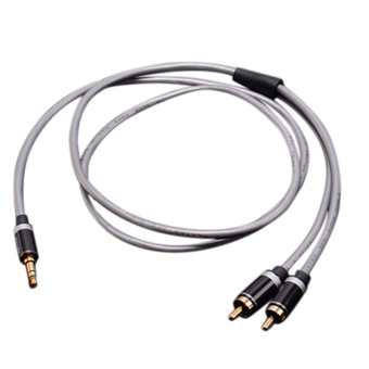 Harga Gold-plated 2 RCA Jack Plug Stereo Aux Cable HIFI 3.5mm Jack to 2 RCA Audio Cable Grey 1m