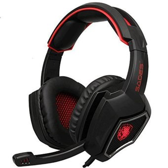Harga [2016 Newest]SADES Spirit Wolf 3.5mm Wired Gaming Headset with Microphone,Deep Bass Over-the-Ear Noise Isolating, Volume Control, LED Lights For PC Gamers (Black Red)