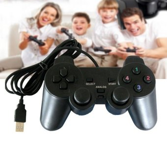 Harga 2017 Hot Sale USB Vibration Shock PC Computer Gamepad Game Controller for Playstation PS2 wired Joystick - intl